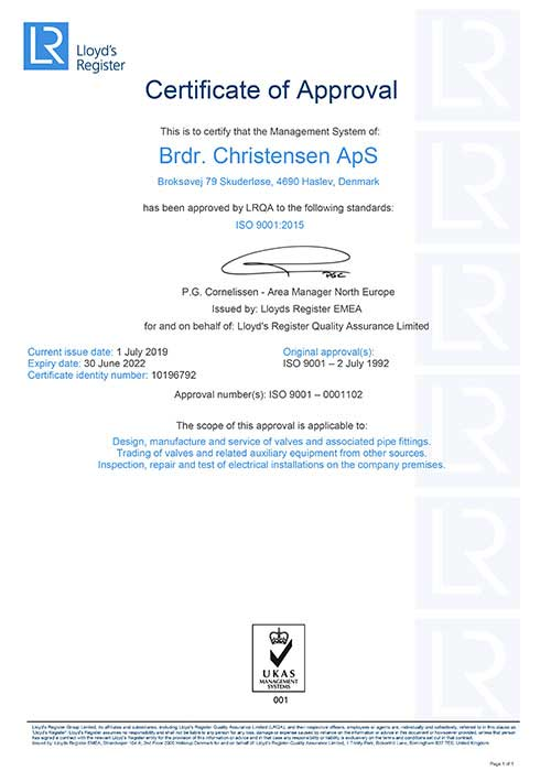 ISO 9001 2015 Certification Brdr Christensen